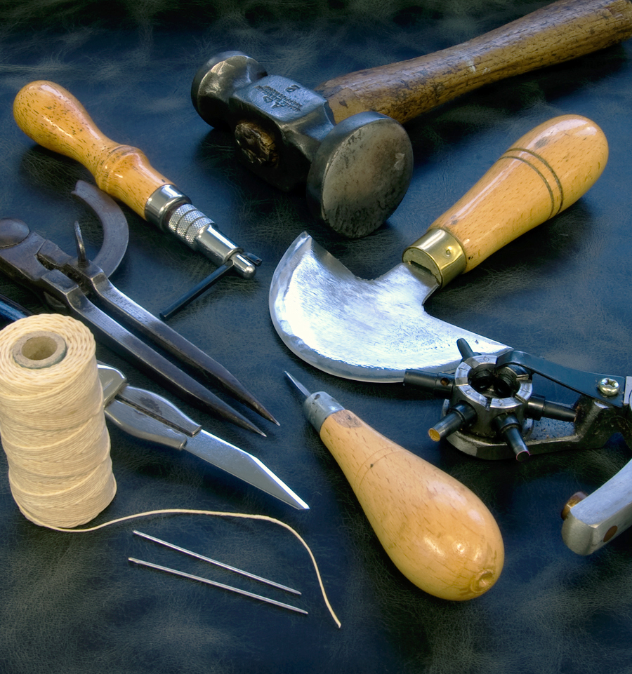 just some of the tools I use to make my handmade leather watch straps